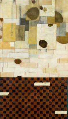 Diana González Gandolfi ... FALLING, 2005, encaustic & oil on wood, 56 x 32 x 2 in.