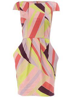 Lime pleat front print dress
