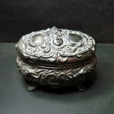 Antique Art Nouveau Metal Jewelry Casket - Jewelry Box - Repousse - Mucha - Goth - Dark - Faces - Boudoir on Etsy, $125.00