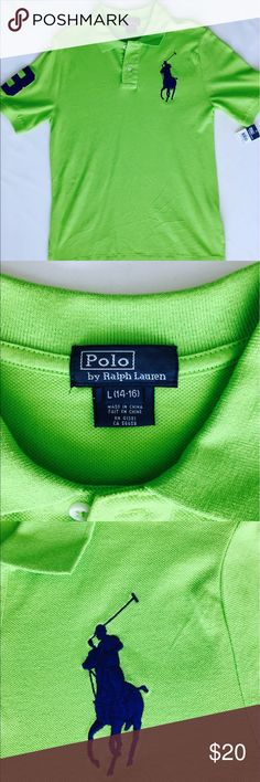 "BOYS RALPH LAUREN POLO, SZ L(14-16), NEW BOYS RALPH LAUREN POLO, SZ L (14-16)New with Tags, Neon Green/Blue.  Crafted from soft cotton mesh, this polo shirt is designed in a bright neon hue and features our signature embroidered Big Pony. Cotton, Ribbed polo collar, Two-button placket. Short sleeves with ribbed armbands. Applied twill ""3"" at the right arm, Uneven vented hem. Polo signature embroidered Big Pony accents the left chest Polo by Ralph Lauren Shirts & Tops Polos"