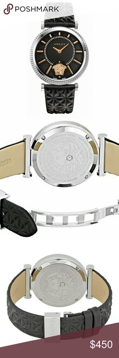 Versace V-Helix VQG020015 Hi, I am selling this BNIB. Silver-tone stainless steel case with a black leather strap. Fixed bezel. Black dial with rose gold-tone hands and index hour markers. Minute markers around the inner ring. Dial Type: Analog. Quartz movement. Scratch resistant sapphire crystal. Case size: 38 mm. Round case shape. Deployment clasp. Water resistant at 30 meters/100 feet. Functions: hour, minute. Dress watch style. Watch label: Swiss Made. Versace V-Helix Black Dial Leather…