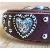 Big Girls Heart Leather Large Dog Collar A double layer leather dog collar featuring large silver heart conchos for your large and lovable girl. 1 or 2 inches wide. Concho Belt, Belt Buckles, Big Dogs, Large Dogs, Neopolitan Mastiff, Dog Belt, Giant Dog Breeds, Mastiff Dogs, English Mastiff