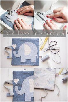 Babygeschenke selber nähen   DIY Idee Knistertuch #sewing #nähen #Baby Rheinherztelbe