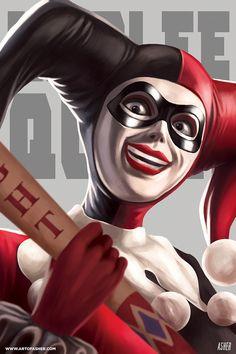 Harley Quinn, Art Of Asher on ArtStation at https://www.artstation.com/artwork/NZvLN - More at https://pinterest.com/supergirlsart/ #harleyquinn #dccomics #fanart