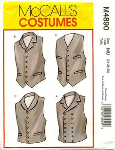McCalls M4890 Men's Vintage Lined Vest Costume Uncut OOP Sewing Pattern Sizes 34-38 Chest 19th Century Victorian Steampunk Civil War 2005