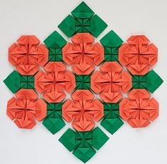 variation on a tessallation – Origami World Origami Quilt, Origami Cards, Origami And Kirigami, Fabric Origami, Origami Box, Origami Paper, Oragami, Asian Quilts, Paper Art