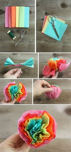 I meant to post these cute tissue paper flowers before Cinco de Mayo, which would have been absolutely perfect. Fortunately, sweet, festive flowers are appropriate even after Cinco de Mayo! Mexican Paper Flowers, How To Make Paper Flowers, Giant Paper Flowers, Paper Roses, Flower Paper, Tissue Paper Crafts, Diy Paper, Tissue Paper Decorations, Paper Garlands