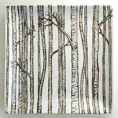 Birch Trees Handpainted Platter by MaryElizabethArts. Personalizations welcome. $78.00