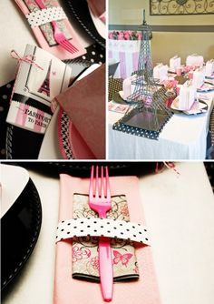 Paris themed birthday party. Ideas could easily be converted to a bridal shower.