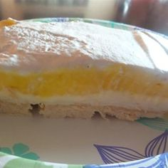 A family friend shared this lemon and cream cheese dessert with me. It has been a hit with our family now for all our get togethers. Kinds Of Desserts, No Bake Desserts, Dessert Recipes, Fruit Dessert, Dessert Ideas, Lemon Lush Recipe, Recipe Folder, New Recipes, Cooking Recipes