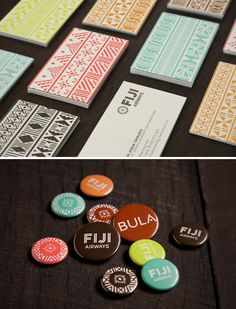 Like the aztec design for a business card Fiji Airways by Brad Stevens. I really like the unity and originality of this branding. The color scheme works well to represent Fiji and I love the idea of button pins to use with the branding. Letterhead Business, Business Card Design, Creative Business, Business Branding, Business Cards, Identity Design, Logo Design, Fiji Airways, Tapas