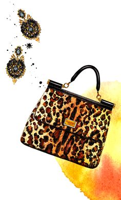 #Dolce & Gabbana Miss Sicily Leopard Print Bag #Sunny Gu's Fashion Illustrations