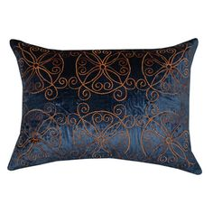 Bring a chic touch of style to your sofa, chaise, or bed with this stylish velvet pillow, showcasing a plush fill and medallion motif.