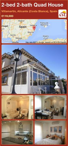 Quad House for Sale in Villamartin, Alicante (Costa Blanca), Spain with 2 bedrooms, 2 bathrooms - A Spanish Life Murcia, Alicante, Valencia, Quad, Central Heating, Conservatory, Nice View, New Kitchen, Costa