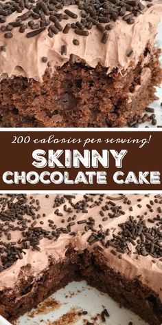 This healthier, reduced calorie chocolate cake is made with a chocolate cake mix, chocolate Greek yogurt and topped with a light & fluffy chocolate whipped frosting! You won't believe that each serving is only 200 calories. Low Calorie Chocolate, Low Calorie Cake, Healthy Chocolate Desserts, Healthy Low Calorie Meals, Low Calorie Desserts, Chocolate Cake Mixes, Healthy Cake, No Calorie Foods, Chocolate Treats
