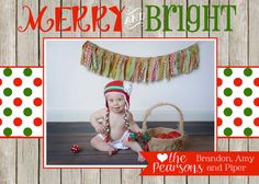 Merry & Bright  Christmas Card  2 sided  by PaisleyPearInvites