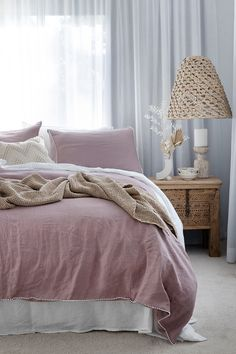 Add a dash of texture to your bed setting with linen bedding decorated with little white pom pom trim. Various colors and sizes available in linen duvet covers, pillowcases and more. Bedroom styled by Villa Styling. Dusty Pink Bedding, Black Bedding, Linen Bedding, Bedding Sets, Earthy Bedroom, Loft Furniture, Types Of Beds, Bed Linen Sets, Pom Pom Trim