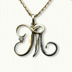 Custom initial jr monogram pendant shown in sterling silver 14kt two tone tm initial pendant set with a small diamond in the t aloadofball Gallery