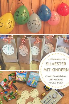Silvester mit Kindern feiern: Ideen für zu Hause Celebrating New Year's Eve with children can be really fun. In addition to countdown bags, we collect other games and ideas for the New Year's children's party at home: www. Kids Crafts, Diy And Crafts, Diy Silvester, Party Silvester, Eve Children, New Years With Kids, Christmas Bulbs, Christmas Crafts, Merry Christmas