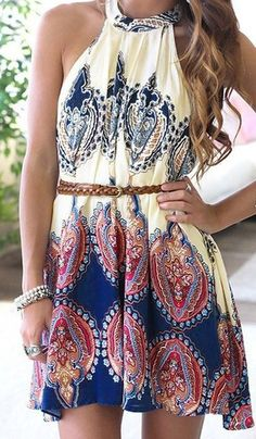 Tribal print dress with braid leather belt