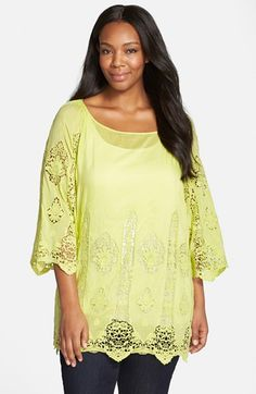XCVI Wearables XCVI 'Kensington' Embroidered Lace Cotton & Silk Voile Tunic (Plus Size) available at #Nordstrom