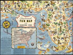 Fun map of the sunshine zone - Foldout [b]. Greyhound's Fun Map of the Sunshine Zone. Map of Greyhound routes to Florida and Gulf Coast. Gulf of Mexico. Canvas Wall Art, Wall Art Prints, Canvas Prints, Vintage Wall Art, Vintage Walls, Pictorial Maps, Triptych, Wrapped Canvas, Vintage World Maps