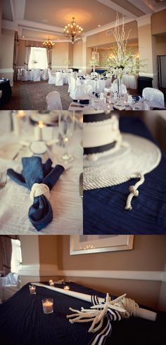 Nautical wedding inspiration Who is going to be in charge of making a million napkin rings? Anyone who wants to pass their test..