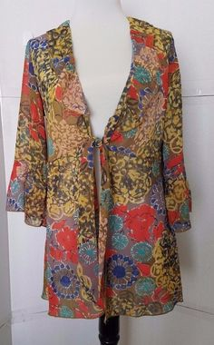 CAbi Shakespeare Tunic Floral Tie Front Blouse Womens size S Style 360 #CAbi #Tunic #Casual