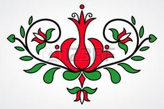 Hungarian Embroidery Patterns Traditional Hungarian floral motif with stylized leaves and. Hungarian Embroidery, Folk Embroidery, Learn Embroidery, Chain Stitch Embroidery, Embroidery Stitches, Bordado Popular, Embroidery Designs, Stitch Head, Arte Popular
