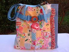Handmade Crazy Patchwork and DenimTote - Handbag - Buckle. £21.50