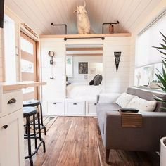 I am in total bliss with this cabinet bedroom from Tru Form Tiny ( Tiny House Ideas Bedroom bliss Cabinet Form Tiny Total Tru truformtiny Inside Tiny Houses, Small Tiny House, Modern Tiny House, Tiny House Plans, Tiny Home Floor Plans, Tiny House On Wheels, Tiny House Bedroom, Tiny House Living, Tiny House Closet