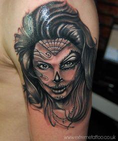 Dias De Los Muertos,Religious tattoo,Portrait,Gabi Tomescu.Extreme tattoo&piercing. Fort William.Highland.Realistic tattoo, Black and grey tattoo, Japanese tattoo, Traditional tattoo, Floral tattoo, Chinese tattoo, Fine line art tattoo, Old school tattoo, Tribal Tattoo, Maori tattoo, Religious tattoo, Pin-up tattoo, Celtic tattoo, New school tattoo, Oriental tattoo, Biomechanical tattoo