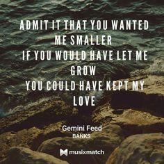 Gemini Feed - BANKS (lyrics card)