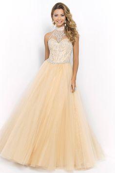 2015 Halter Beaded Bodice A Line/Princess Prom Dress With Tulle Skirt USD 169.99 EPPNPNDSZR - ElleProm.com