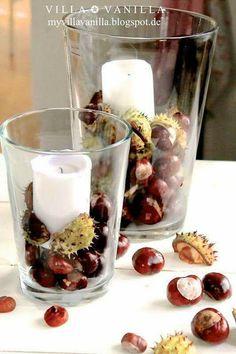 Making autumn decoration yourself - 15 DIY craft ideas for the third season - Deko - New Swedish Design, Swedish Style, Diy Pinterest, Autumn Table, Conkers, Autumn Decorating, Porch Decorating, Autumn Crafts, Diy Autumn
