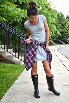 xomrsmeasom xo mrs measom rainy day, spring outfit, summer outfit, hunter boots, casual outfit, plaid, tshirt dress, t shirt dress, topknot, urban outfitters, target #hunter #boots #rainyseason #summer #street