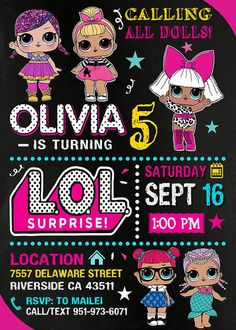 Birthday invitations with the LoL doll theme Printable LoL doll invitation and customizable LoL doll invitation Please read our terms and conditions before making purchases and If you have any questions please do not hesitate to contact us 7th Birthday Party Ideas, Kids Birthday Party Invitations, 4th Birthday, Surprise Birthday, Free Birthday, Doll Party, Lol Dolls, Blog, Poster