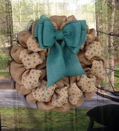 Teal Burlap Wreath with Polka Dot Ribbon - Spring and Summer - Aqua Blue www.etsy.com/shop/simplyblessedgift