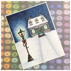 Art Impressions: Cottage and Lamp Post. Handmade Christmas card.