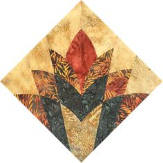 Cleopatra's Fan with batik fabric Paper Piecing Patterns, Patchwork Patterns, Quilt Block Patterns, Pattern Blocks, Quilt Blocks, Batik Quilts, Applique Quilts, Quilting Tutorials, Quilting Designs