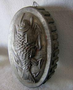 c.1890s tin fish mold