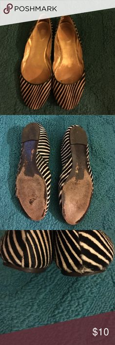 J Crew Flats Pre loved...Black and white striped flat with green trim around to top. Normal wear, but lots of life left. Cute with jeans! J. Crew Shoes Flats & Loafers