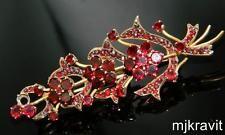 Gold Tone Rose Cut & Flat Top Český granát 3-D Flower Antique viktoriánské Pin