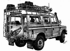 Sketched photo of a Land Rover Series II expedition prepared
