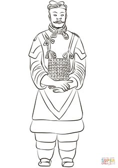 New Zealand Flag Coloring Pages Inspirational Terracotta Army General Coloring Page Flag Coloring Pages, Free Printable Coloring Pages, Coloring Books, Coloring Sheets, Army Drawing, Warrior Drawing, New Zealand Flag, Terracotta Army, Army Colors