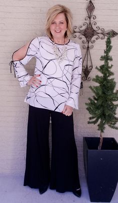 50 IS NOT OLD | WEARING CLASSIC BLACK AND WHITE | Date Night Outfit | Palazzo Pants | Split Sleeve | Fashion over 40 for the everyday woman