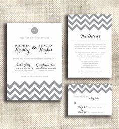 Modern Chevron / DIY Print at Home Wedding Invitation Suite. $65.00, via Etsy.