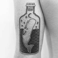 arm tattoo of wahle in bottle Star Tattoo Meaning, Dragon Tattoo Meaning, Tattoo You, Back Tattoo, Mini Tattoos, Cool Tattoos, Tatoos, Bottle Drawing, Bottle Tattoo