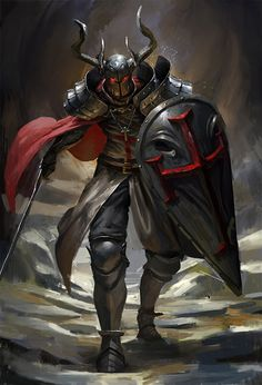 m Paladin plate sheild helm sword cape The Demon Knight by Anakin Lee on ArtStation Dark Fantasy Art, Fantasy Rpg, Medieval Fantasy, Fantasy Artwork, Fantasy Warrior, Warrior King, Demon King, Digital Art Illustration, Illustration Fantasy