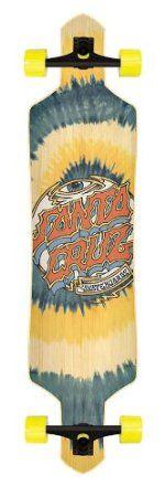 """Santa Cruz Slalom Trip Dot Freeride Tie Dye Complete Downhill Longboard Skateboard - 9"""" x 38"""""""